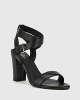 Ralexx 2 Black Leather Block Heel Sandal.