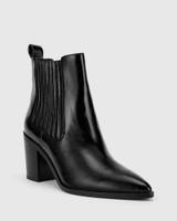 Parton Black Patent Leather Elastic Gusset Block Heel Ankle Boot.
