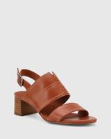 Izana Bourbon Leather Block Heel Sandal.
