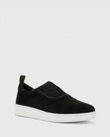 George Black Suede Leather Slip On Sneaker