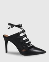 Handre Black Leather Lace Up Heeled Mule.