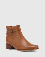Bayley Cognac Leather Ankle Boot