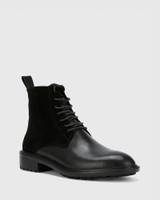 Dean Black Suede Leather Lace Up Flat Boot.