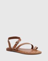 Fisher Tan Leather Strap Flat Sandal.