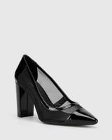 Halyn Black Patent Mesh Cut Out Pointed Toe Block Heel .