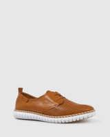 Bryleigh Tan Leather Lace Up Sneakers.
