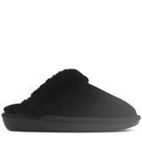 Cosy Black Suede Shearling Lined Mule Slipper