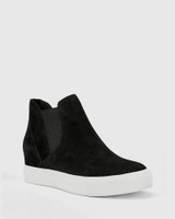 Sanders Black Suede Leather Slip On Wedge Sneaker.