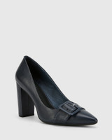Hamzel Riveria Blue Nappa Leather Buckle Block Heel