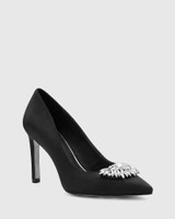 Henshaw Black Satin Embelished Stiletto Heel.