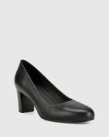 Keaton Black Leather Block Heel Almond Toe Pump.