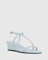 Decker Sky Blue Nappa Leather Wedge Heel Sandal.
