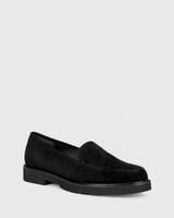Dee Black Suede Round Toe Slip On Loafer.