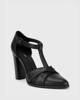 Wilde Black Leather Mary Jane Block Heel.