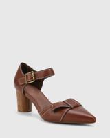 Decima Cedar Leather Pointed Toe Block Heel.