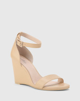 Remina Ecru Nappa Leather Wedge Heel Sandal.