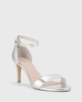 Imina Silver Leather Ankle Strap Stiletto Heel Sandal.
