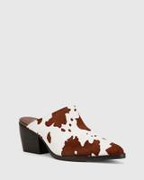 Kasey Cow Print Hair On Leather Block Heel Mule.