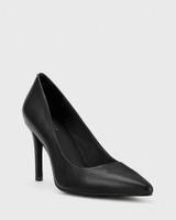 Harman Black Leather Pointed Toe Stiletto Heel.