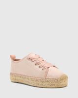 Arnett Pink Satin Espadrille Platform Sneaker.