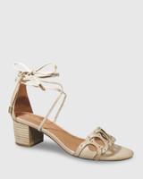 Augusta Tan Leather Block Heel Sandal.