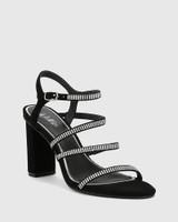Rosalina Black Suede Silver Diamonte Open Toe Heel.