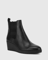 Patt Black Leather Wedge Round Toe Ankle Boot .