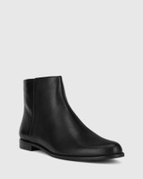 Brenson Black Leather Low Ankle Boot.