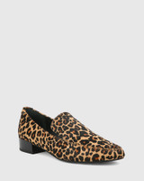 Chia Leopard Print Hair-On Leather Round Toe Loafer.
