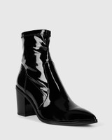 Posey Black Patent Leather Stretch Block Heel Boot.
