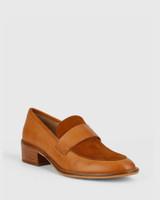 Fallon Tobacco Leather Almond Toe Loafer.