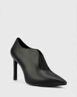 Haddison Black Leather Pointed Toe Stiletto Heel Bootie.