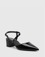 Grammy Black Patent Leather Pointed Toe Block Heel.
