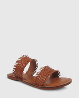 Ixia Tan Weave Leather Open Toe Flat Slide.