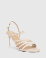 Izarra Ivory Leather Open Toe Stiletto Heel Sandal.