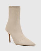 Qadira New Beige Recycled Knit Pointed Toe Ankle Boot