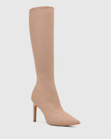 Hada Sunkissed Tan Recycled Knit Stiletto Heel Long Boot