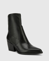 Kennith Black Leather Stretch Point Toe Block Heel Ankle Boot.