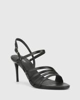 Izarra Black Leather Open Toe Stiletto Heel Sandal.