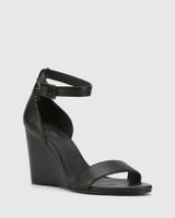 Remina Black Leather Wedge Heel Sandal.