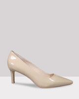Delores Nude Patent Pointed Toe Mid Heel.