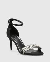Indriana Black Satin Embelished Open Toe Stiletto Heel.