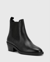 Isaac Black Natural Milled Leather Pull On Ankle Boot .