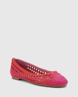 Candra Hot Pink & Red Weave Ballet Flat.