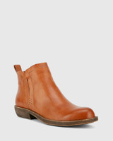 Dan Brandy Nappa Leather Round Toe Ankle Boot .