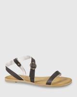 Farida Chocolate Leather Open Toe Flat Sandal.