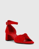 Isadore Red Suede Block Heel Sandal.