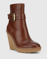 Theodore Brown Leather Wedge Ankle Boot.