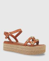 Kassidy Coconut Leather Gold Stud Flatform Sandal.