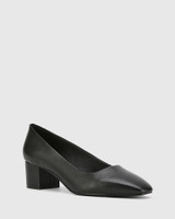 Gonzales Black Leather Square Toe Block Heel.